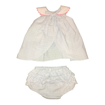 Baby Girls Blue & White Top and Bloomer Set