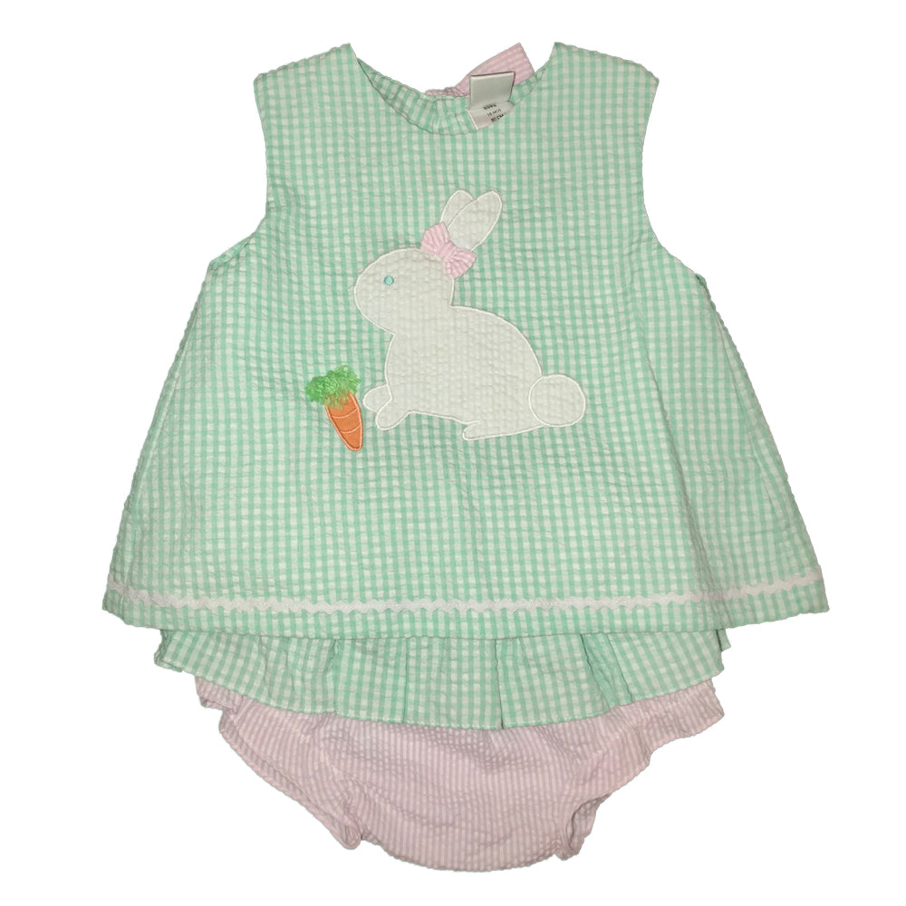 Bunny Applique Mint & Pink Bloomer Set