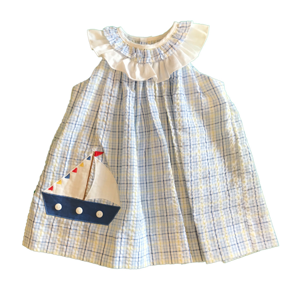 Baby and Toddler Girls Blue Plaid Sailboat Dress