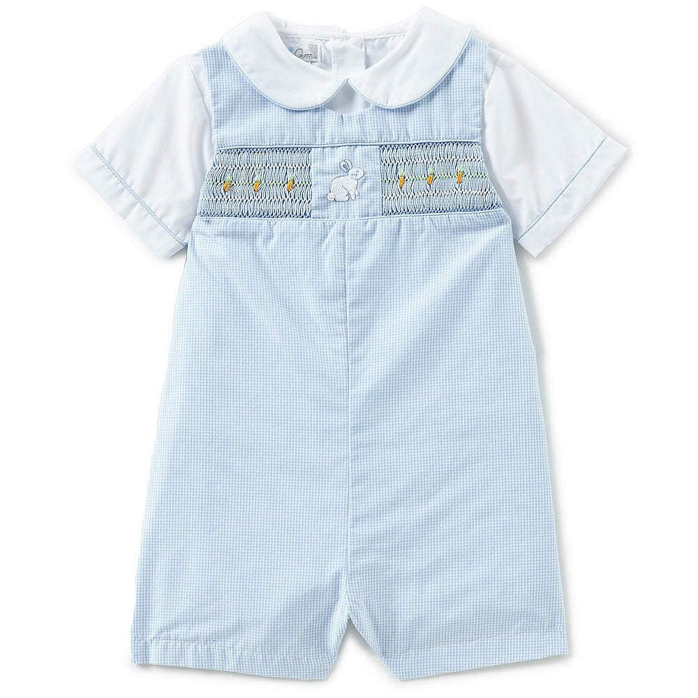 Baby Boys Blue Easter Bunny Smocked Shortall