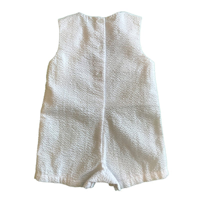 Baby Boys White Seersucker and Blue Whale Shortall