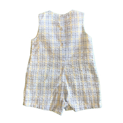 Baby Boys Plaid Seersucker Sailboat Shortall