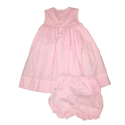 Baby Girls Pink Smocked Embellished Dress and Bloomer Set