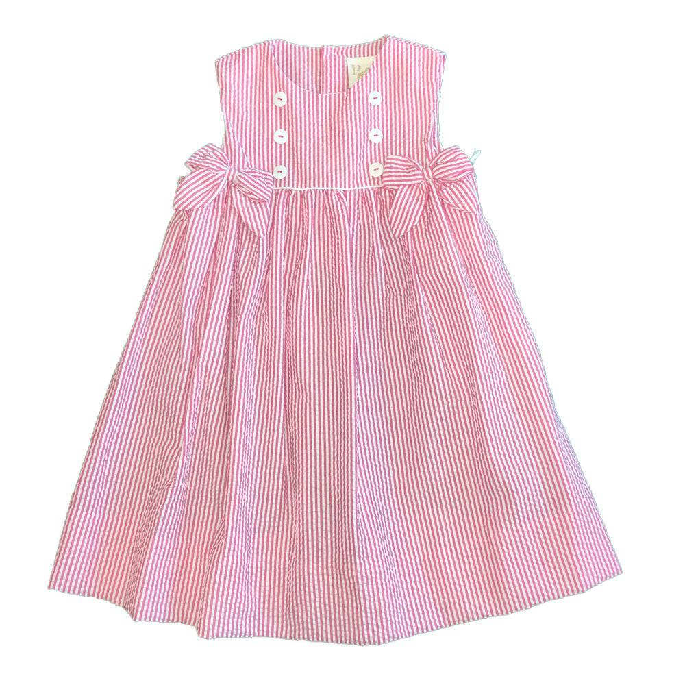 Toddler Pink Striped Seersucker Dress