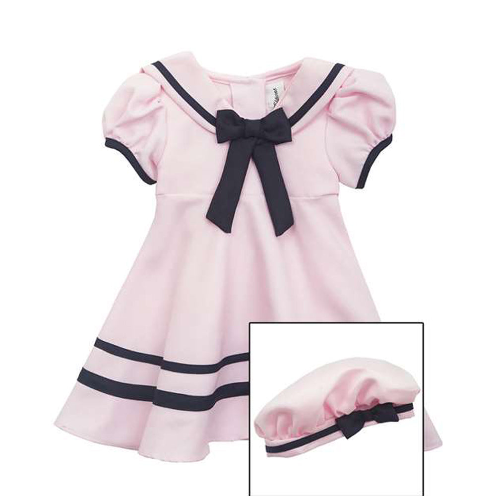 Girls Pink Nautical Sailor Dress with Hat
