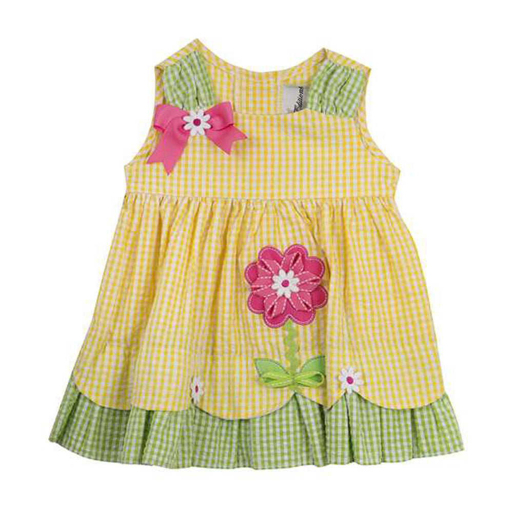 Yellow and Green Gingham Summer Flower  Dress