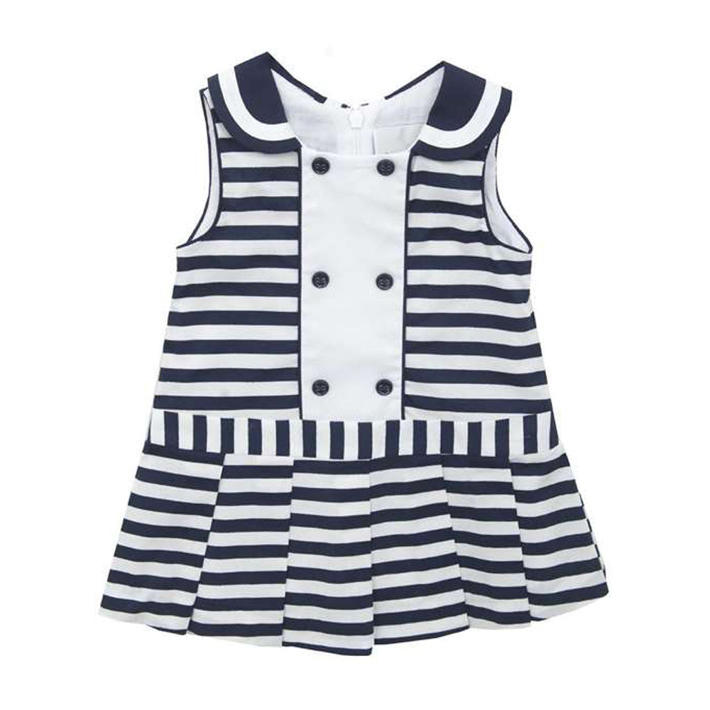 Girls Navy Stripe Woven Nautical Dress