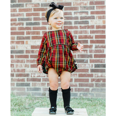 Remington Plaid Ruffle Bubble Romper