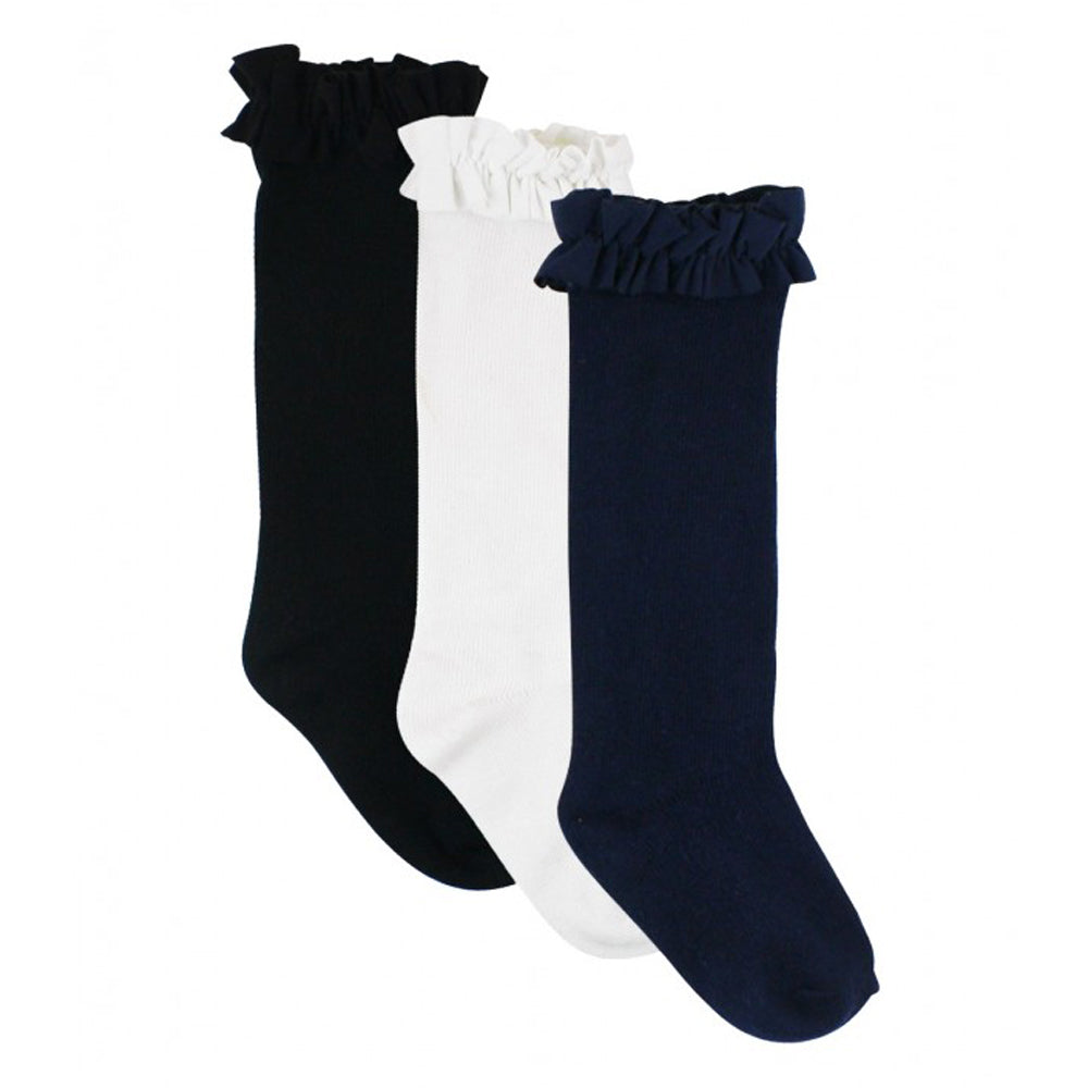 3-Pack White, Navy, Black Knee High Ruffle Socks