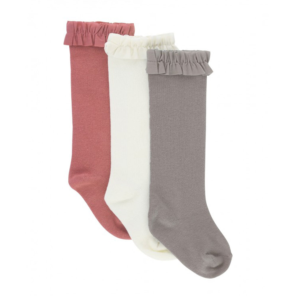 3-Pack Ivory, Mauve, Gray Knee High Ruffle Socks