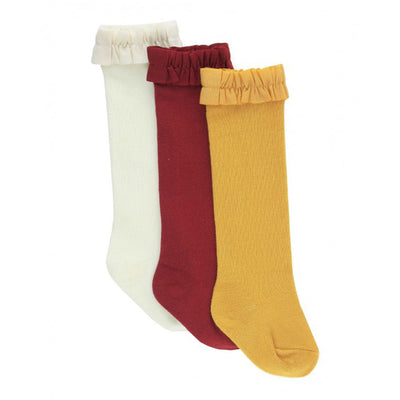 3-Pack Ivory, Cranberry, Golden Yellow Knee High Ruffle Socks