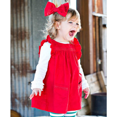 Girls Red Corduroy Hair Bow