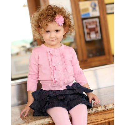 Girls Pink Ruffled Cardigan