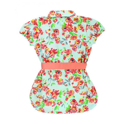 Painted Flowers Shirt Dress