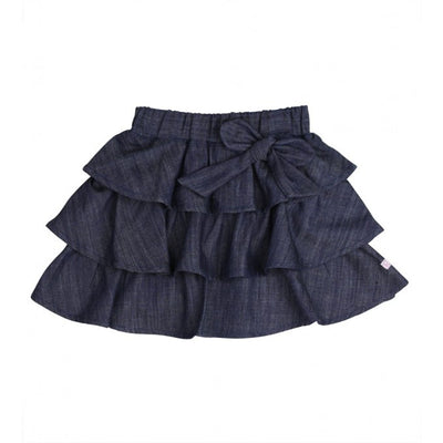 Ruffled Denim Bow Skirt
