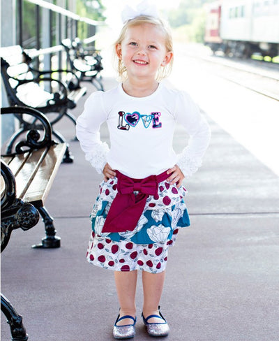 Rosie Posie Mix-Print Skirt with Bow