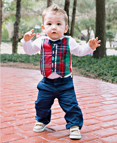 Baby Boys Kennedy Plaid Vest Bodysuit