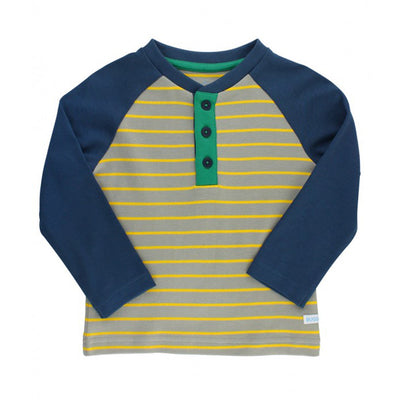 Yellow & Gray Stripe Raglan Henley