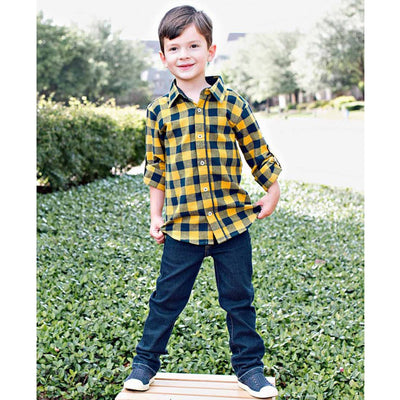 Navy & Mustard Buffalo Plaid Button Down