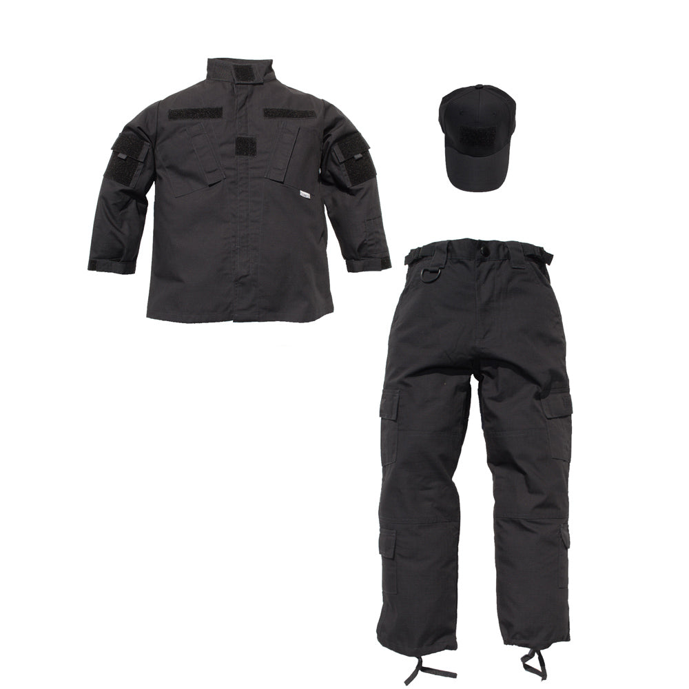 Law Enforcement Jr Trooper Black Tactical 3pc Uniform Set