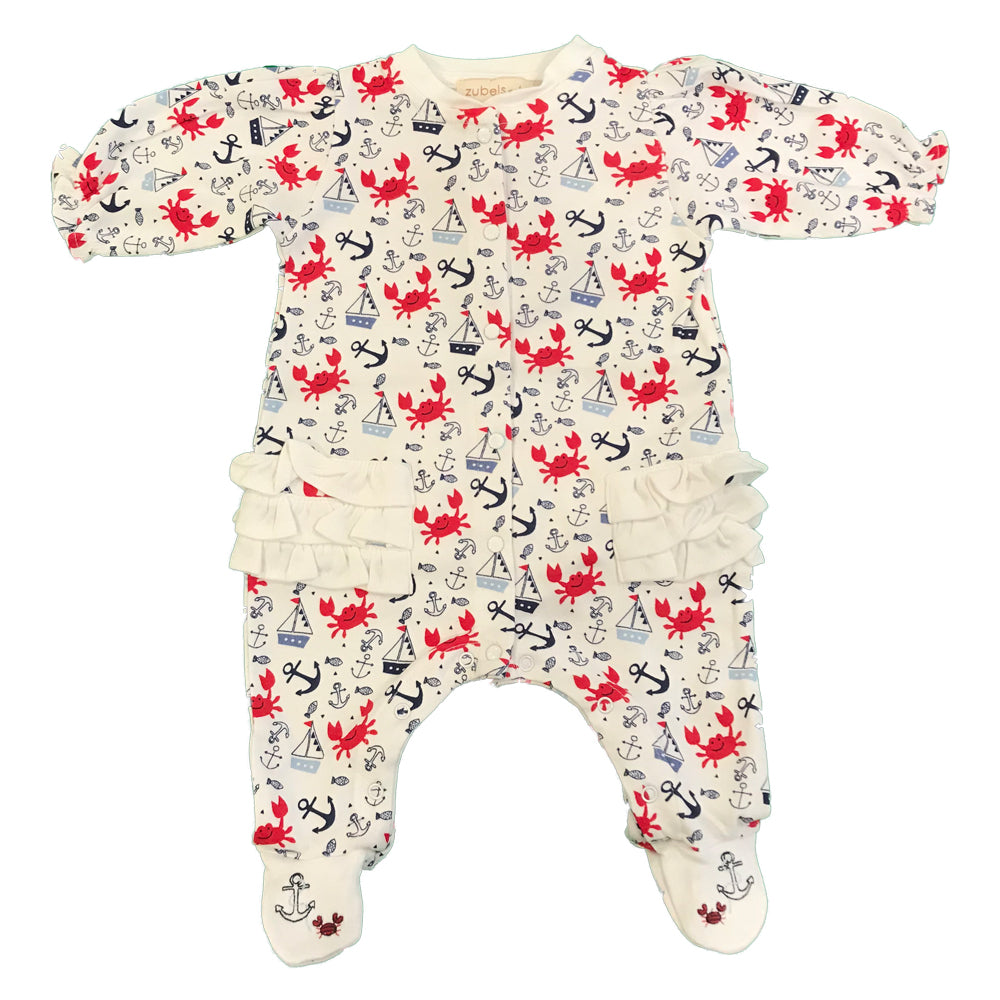 Organic Cotton Baby Girl's Crab Print Ruffled Footie
