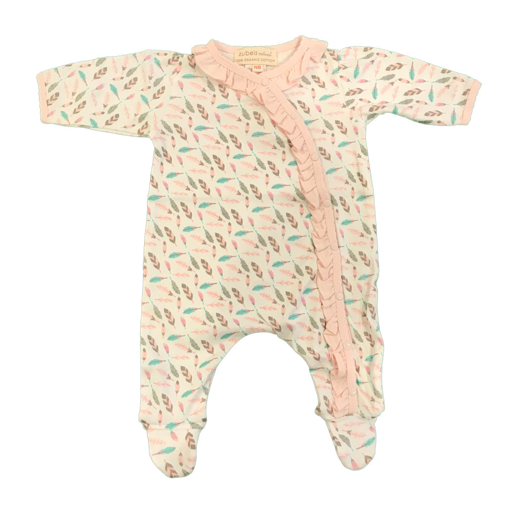 Organic Cotton Baby Girls Feather Print Footie