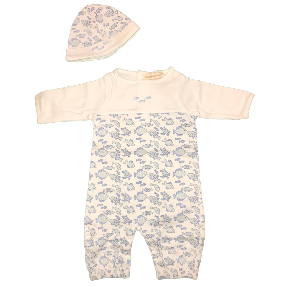 Organic Newborn Boy Fishies Print Nightgown