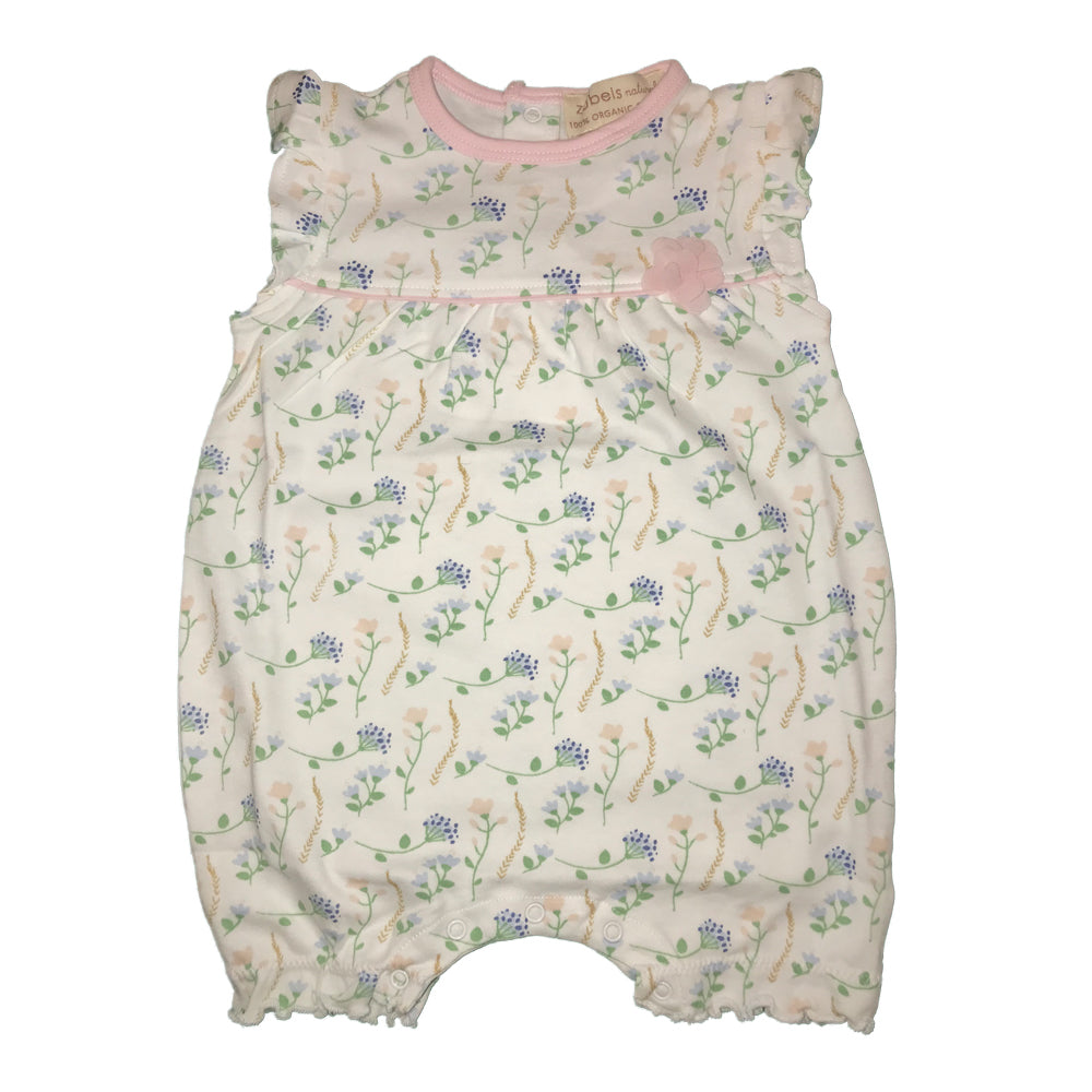 Organic Baby Girls Flower Print Bubble Romper