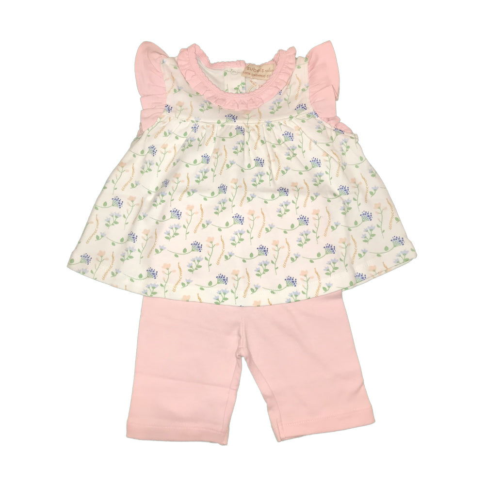 Organic Baby and Toddler Girls Flower Print Capri Set