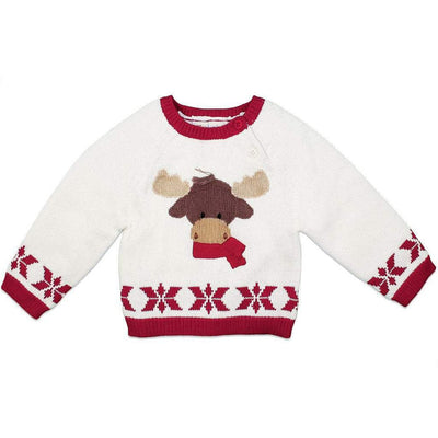 Hand Knit Cotton Holiday Moose Sweater