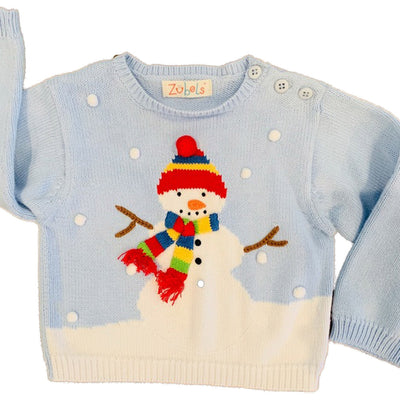 Hand Knit Cotton Snowman Sweater