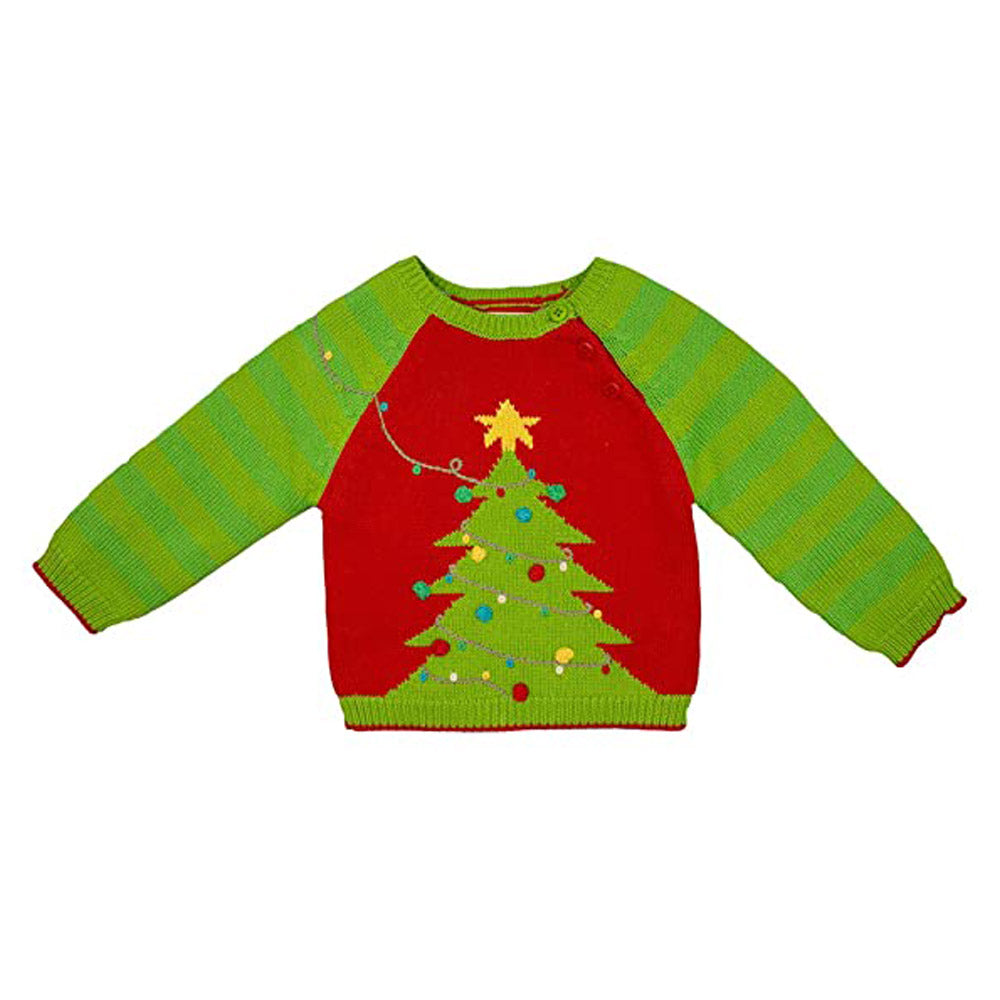 Boys Christmas Tree 100% Knit Cotton Sweater