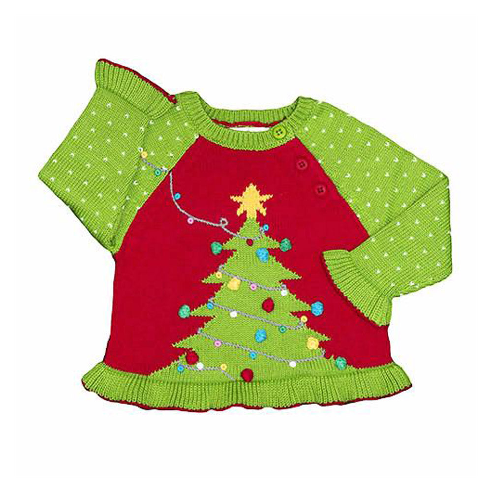 Girls Christmas Tree Cotton Sweater