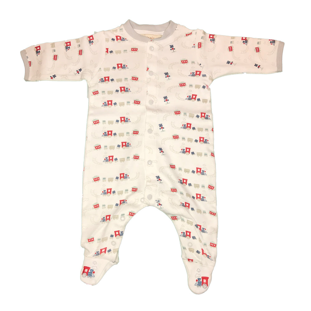 Organic Cotton Baby Boys Train Print Footie