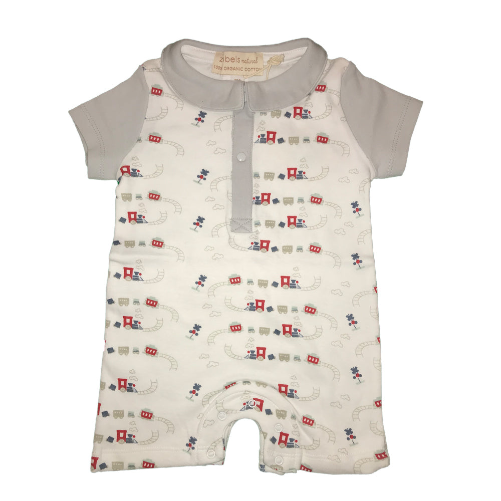 Organic Baby Boys Train Print Romper