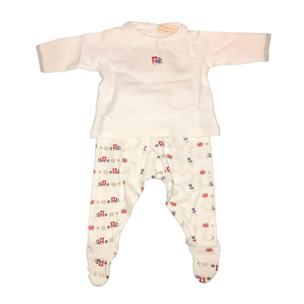 Organic Baby Boys Train Print Shirt and Pant Set