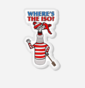 """WHERE'S THE ISO""  0.75"" x 1.27"" Acrylic Pin"