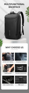 Anti-theft Men's Multifunctional Waterproof 15.6 inch Laptop Bag Man - Worlds Abroad