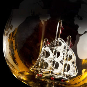 Whiskey Decanter Globe & Glass Set - Worlds Abroad