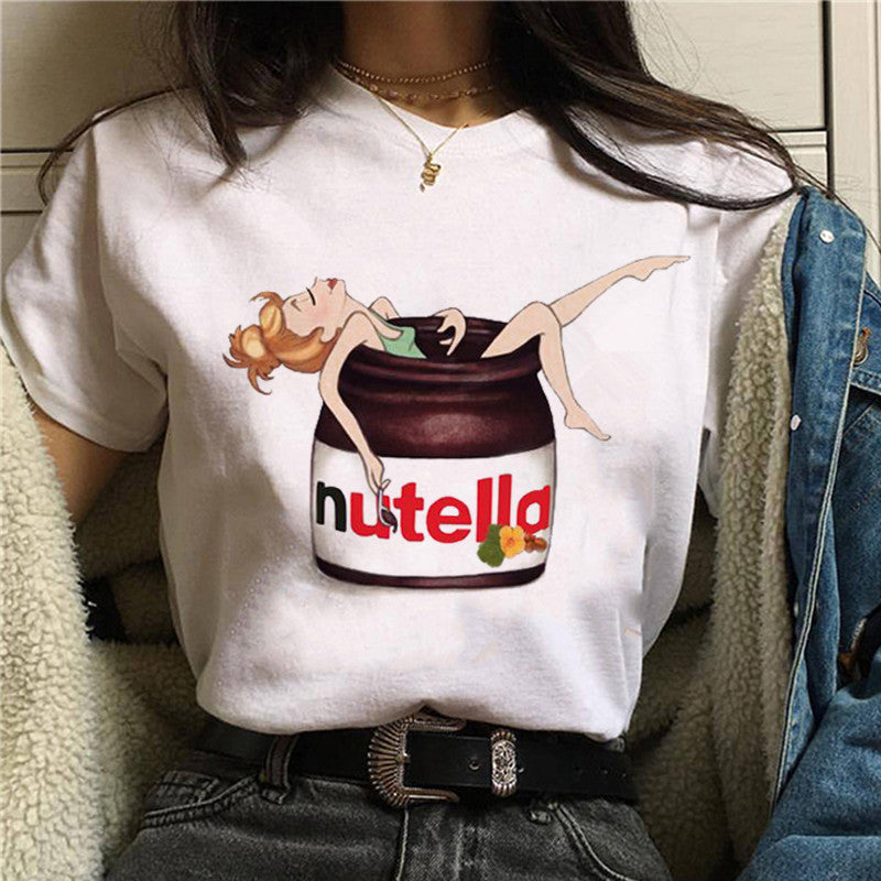 Nutella Kawaii Print T Shirt Women 90s Harajuku Ullzang Fashion T-shirt Graphic Cute Cartoon Tshirt Korean Style Top Tees Female - Worlds Abroad