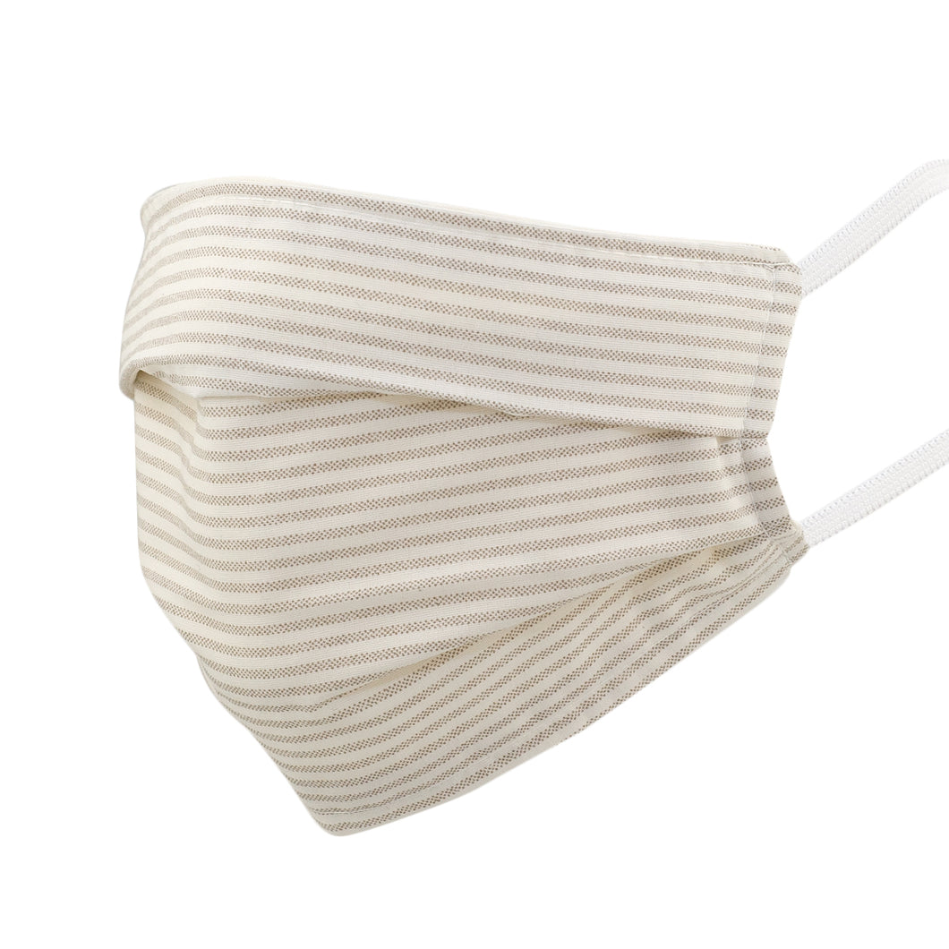 Beige Stripe Pleated Mask