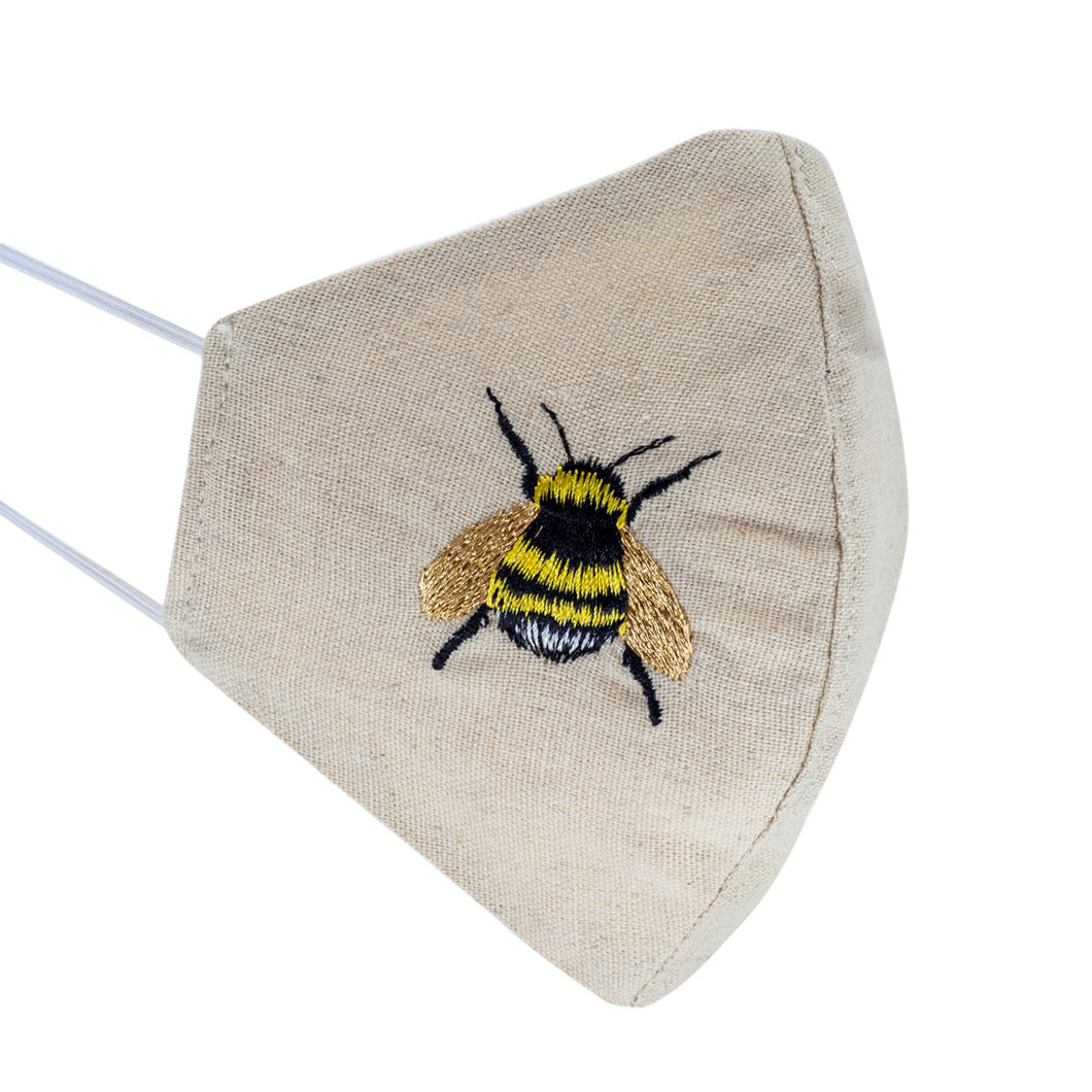 DESIGNER Buzzy Bee Embroidered Shaped Mask