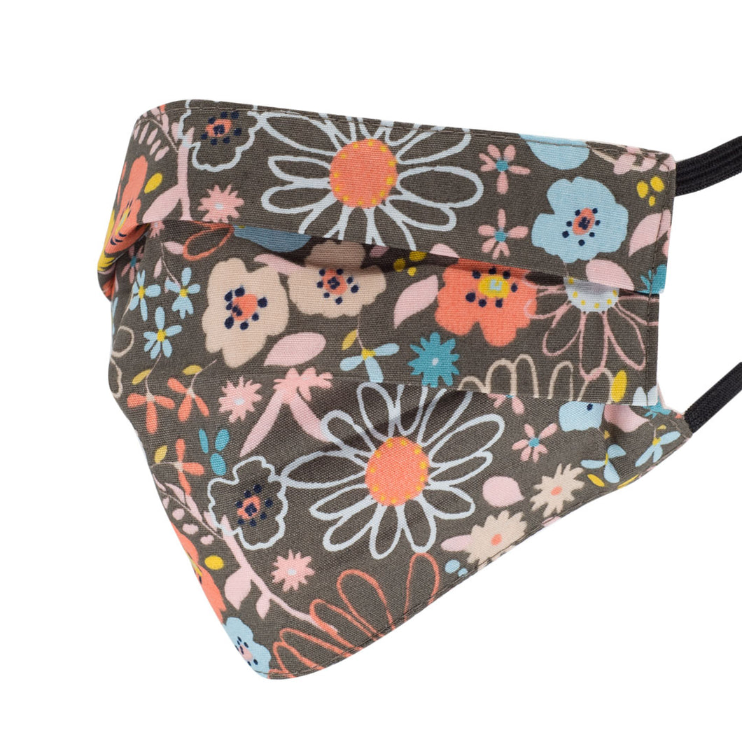 Flower Doodles Pleated Mask, Mocha