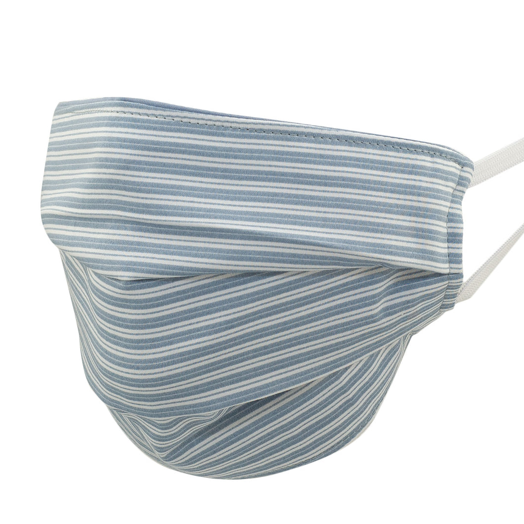 Nautical Stripe Pleated Mask, Blue and White