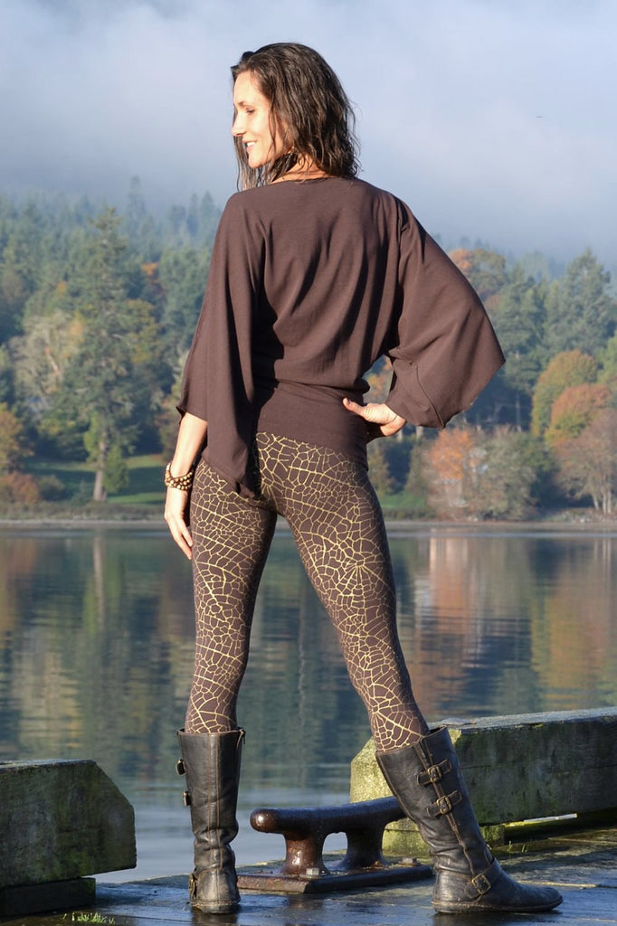 Indira Tights with Gold Leaf Print