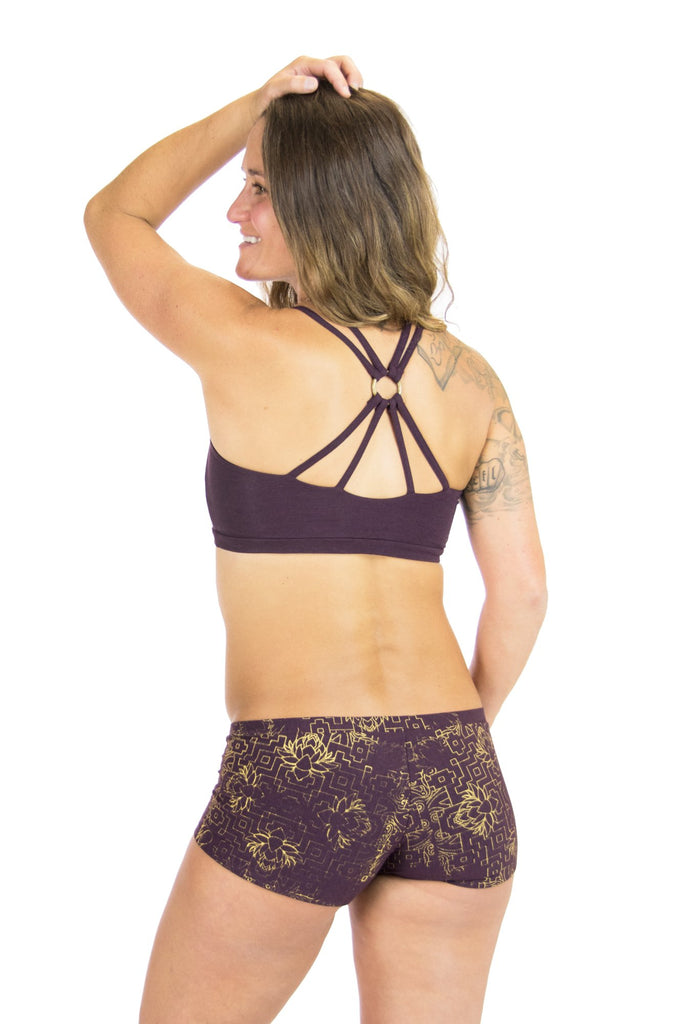 Kali Bootyshorts with Gold Jewel Lotus Print