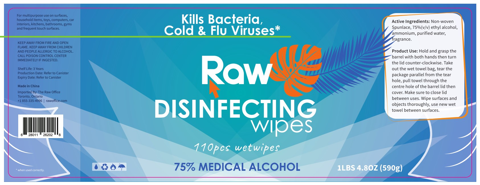 Raw brand Disinfecting Wipes - 110 sheets (pack of 6) (In Stock)