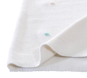 Tricot Baby Blanket Pink-mint Point (90x90 Cm)