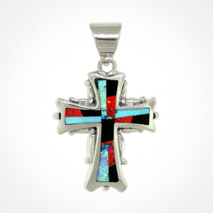 David Rosales Red Moon Cross Pendant - Native American Jewelry