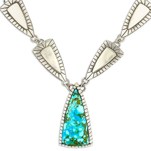 Triangular Kingman Turquoise Necklace by Gary Glandon
